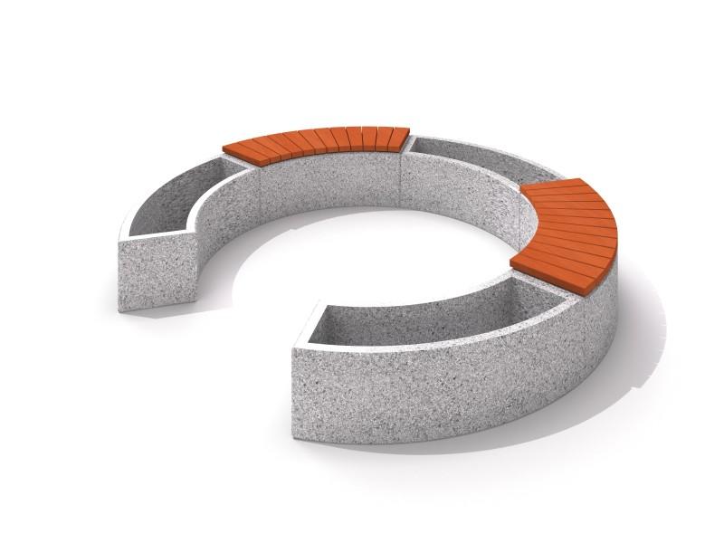 Beton Topfflanzgefaß-Set mit Sitzbanken 02 Inter-Play Spielplatzgeraete