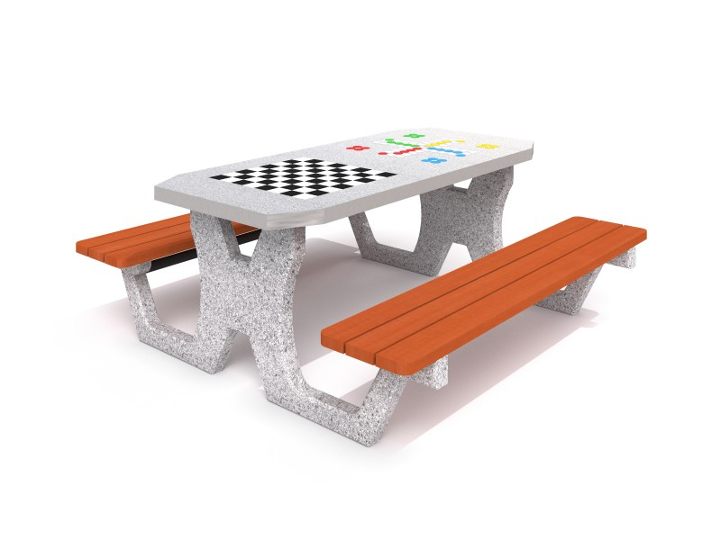Concrete table for chess - checkers / ludo game 02 Inter-Play Spielplatzgeraete
