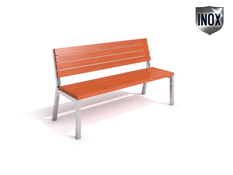 Sitzbank aus Edelstahl 01 Inter-Play Spielplatzgeraete