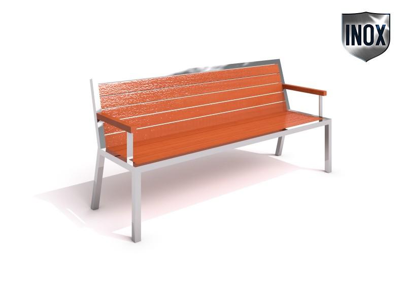 Stainless steel bench 08 Inter-Play Spielplatzgeraete