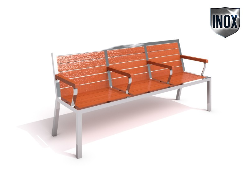 Stainless steel bench 10 Inter-Play Spielplatzgeraete