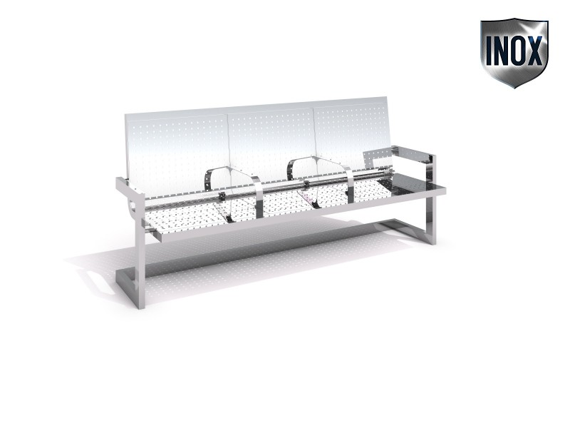 Stainless steel bench 12 Inter-Play Spielplatzgeraete