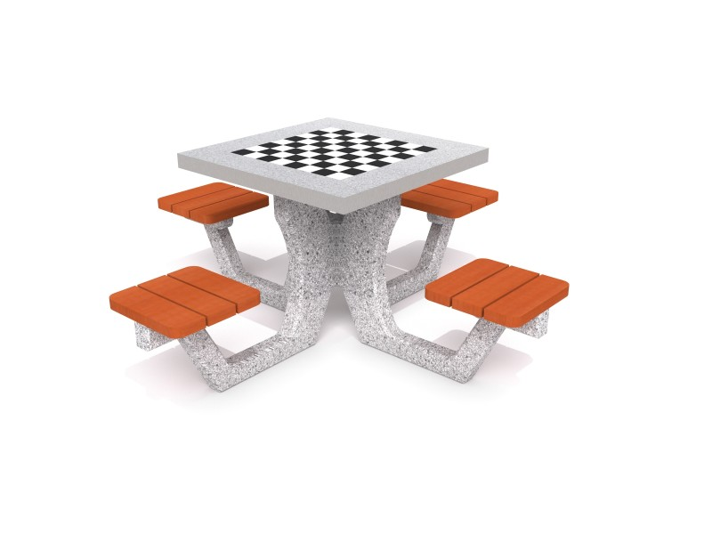 Concrete table for chess - checkers 01 Inter-Play Spielplatzgeraete
