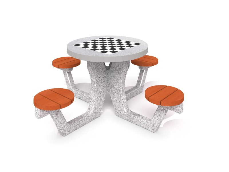 Concrete table for chess - checkers 03 Inter-Play Spielplatzgeraete