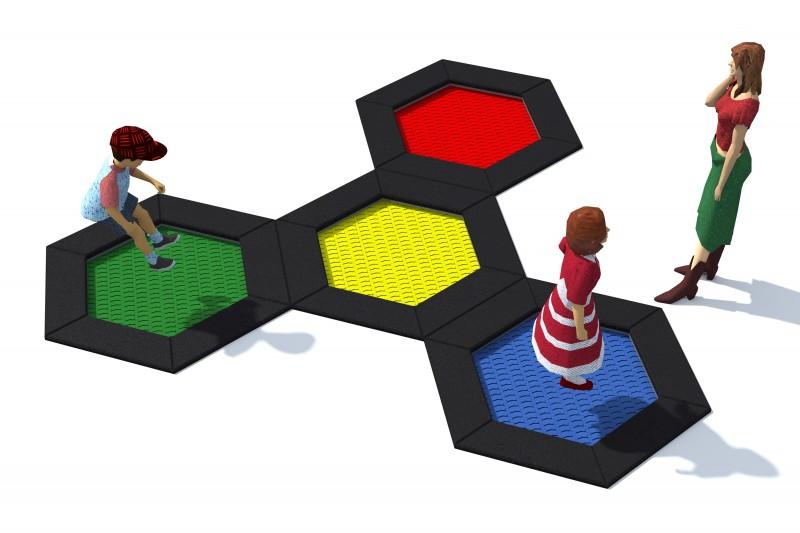 Trampolin Hexo 4B Inter-Play Spielplatzgeraete